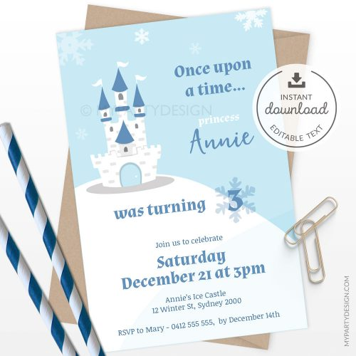 printable ice princess invitation for a girl's birthday or winter baby shower
