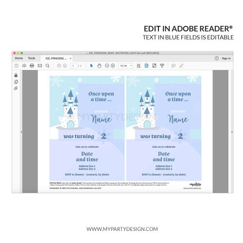 editable ice princess invitation for a girl's birthday or winter baby shower
