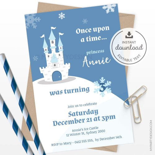ice princess invitation tenplate for a girl's birthday or winter baby shower