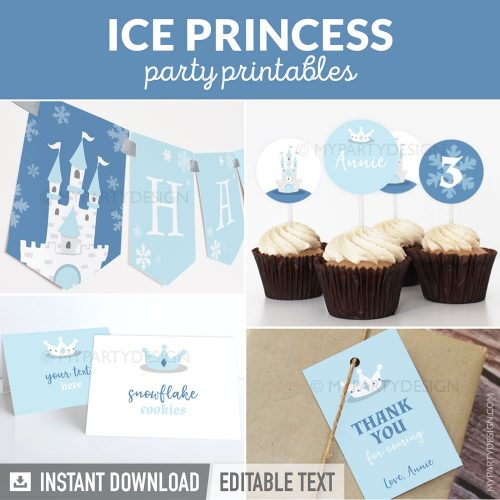 ice princess party decorations printables