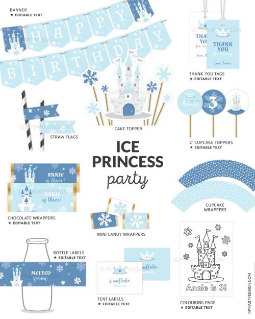 snow princess party decorations printables
