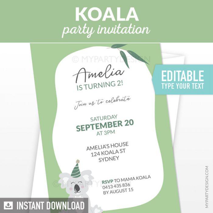 koala party invitation