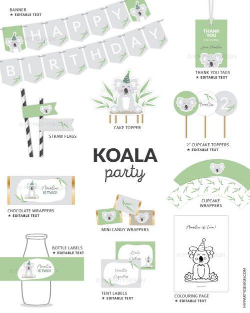 koala party decorations