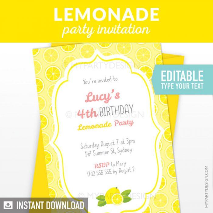 yellow Lemonade Birthday Invitation