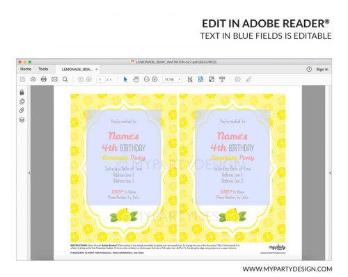 lemonade party invitation - editable printable invite