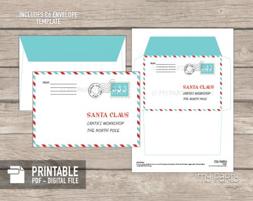 printable letter to santa envelope