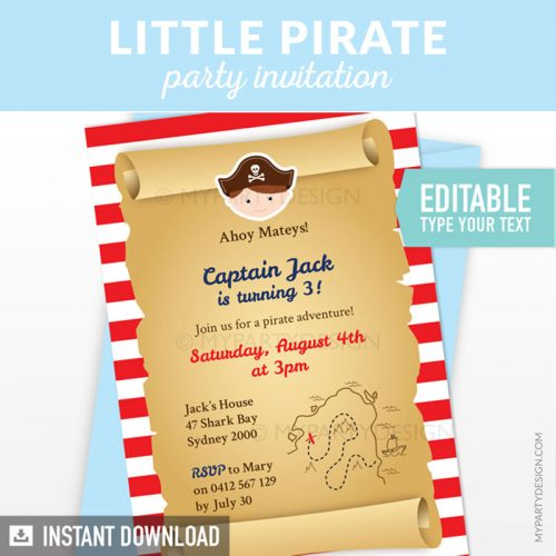 pirate birthday invitation printable