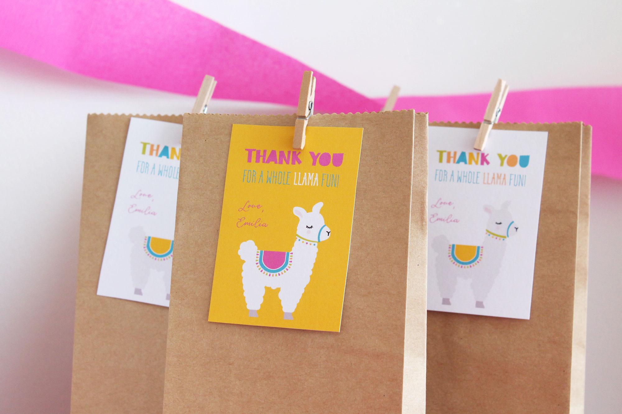 llama party favor tags