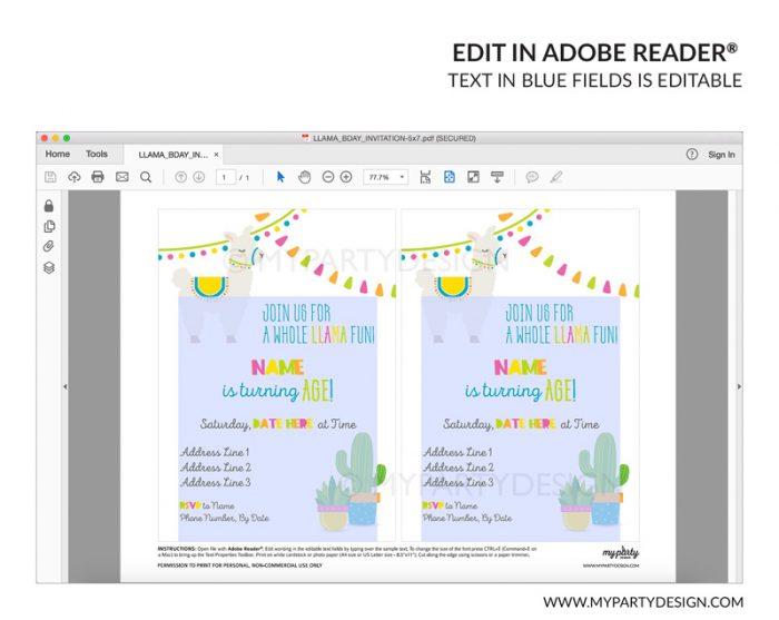 llama party invitation - editable printable invite
