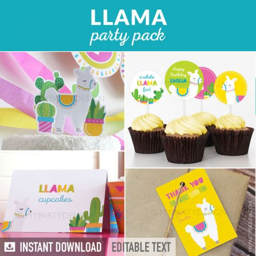 llama party decoration printables