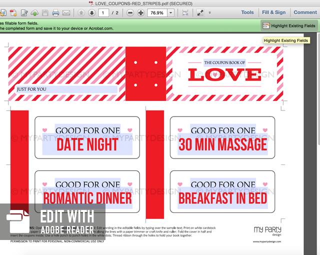 editable printable love coupon book