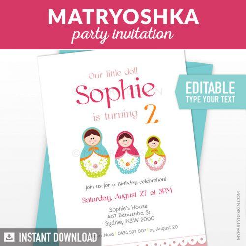 Matryoshka Birthday Invitation