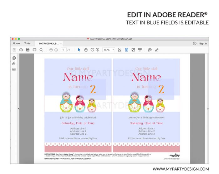 matryoshka party invitation - editable printable invite