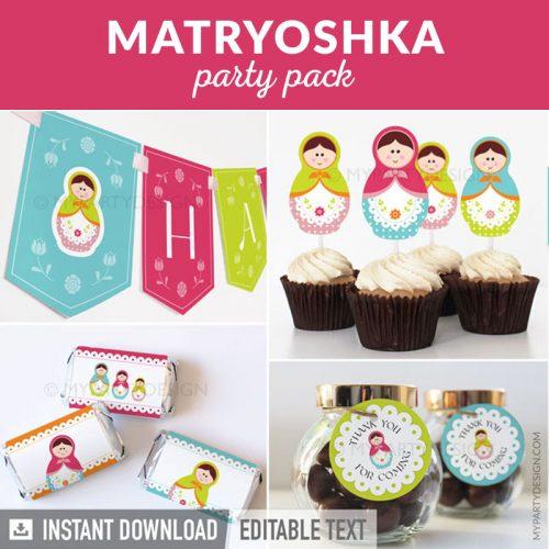 matryoshka party decoration printables