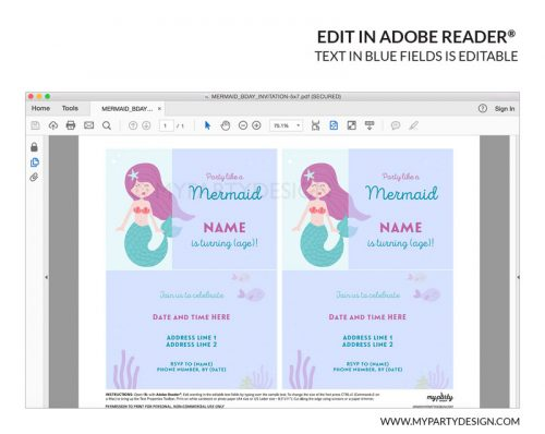 printable mermaid party invitation
