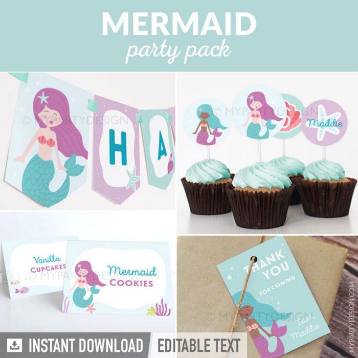 mermaid party printables