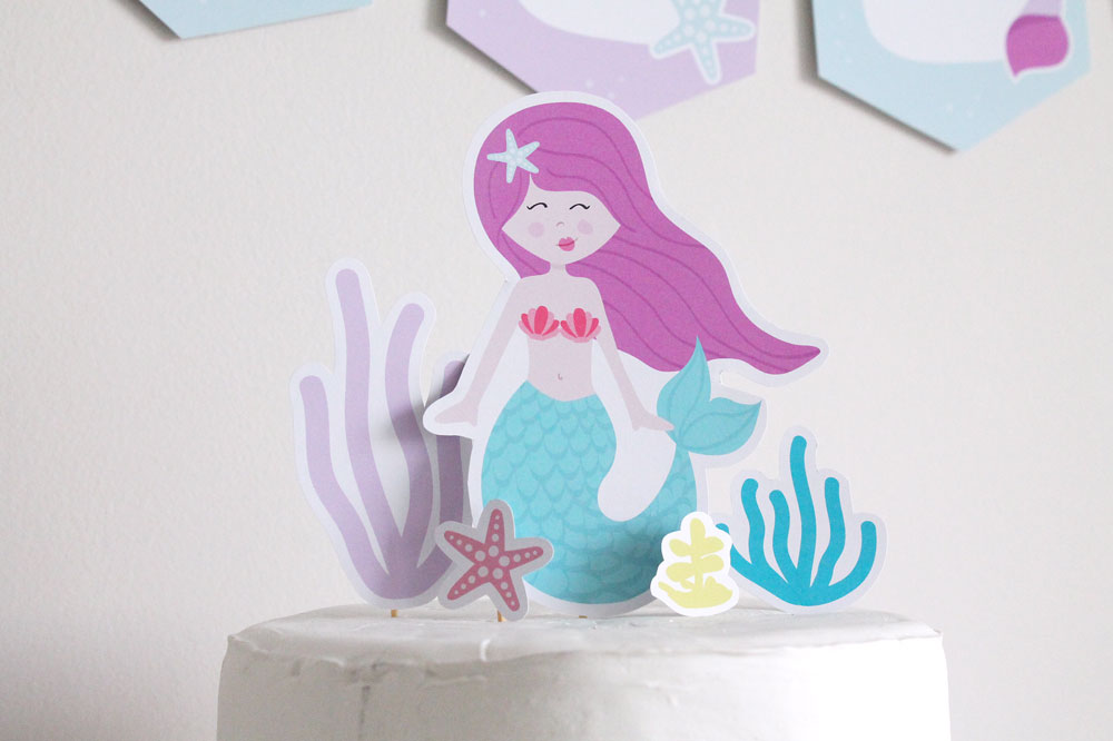 mermaid birthday party cake topper