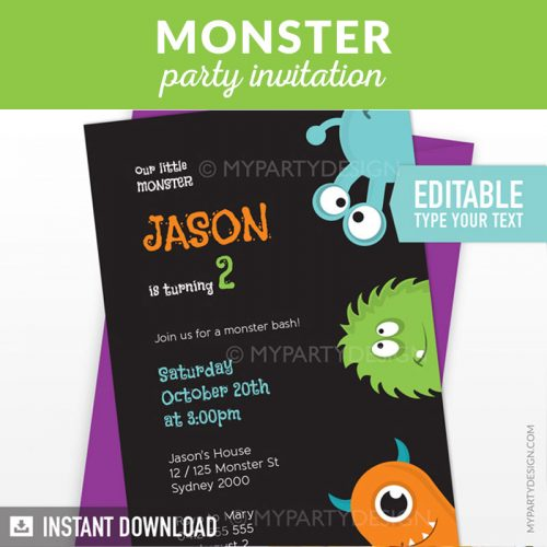 Little Monster birthday invitation with black background