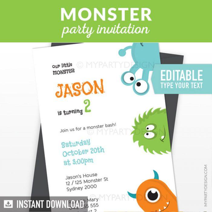 Monster birthday invitation with white background