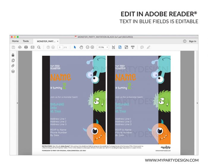 monster party invitation - editable printable invite