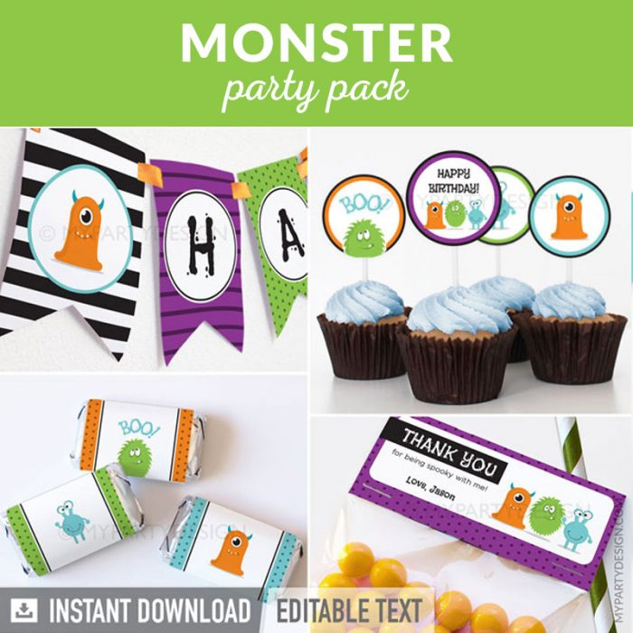 Monster party decoration printables