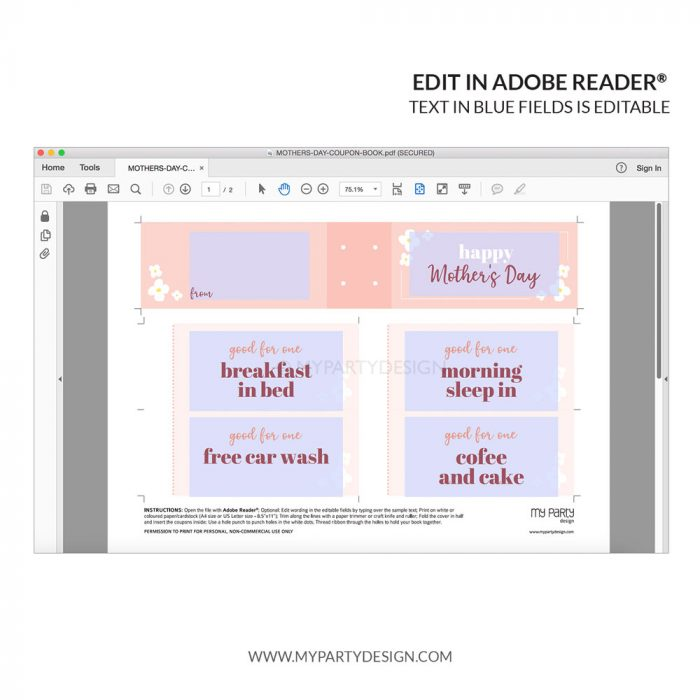 editable coupons for mother's day