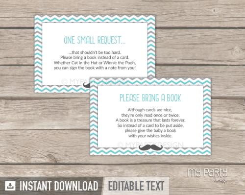 printable little man baby shower book insert