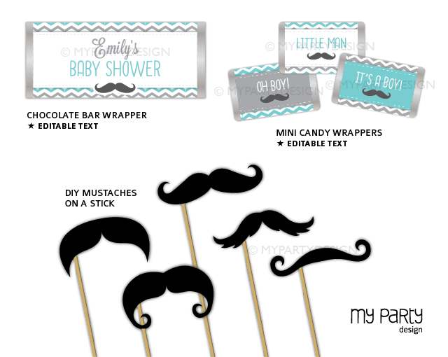 printable little man baby shower party decorations