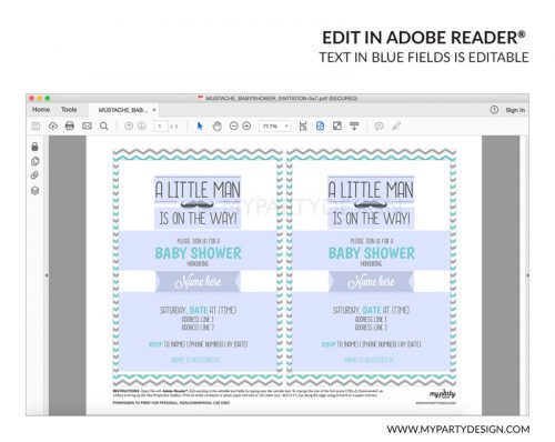 little man baby shower party invitation - editable printable invite