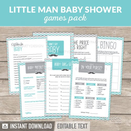 Mustache Little Man Baby Shower Games Printables
