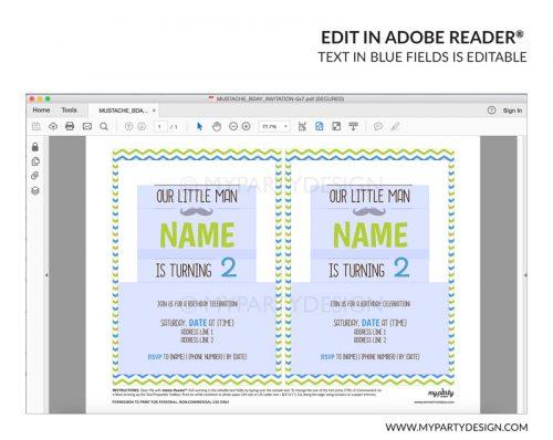 little man party invitation - printable mustache editable invite