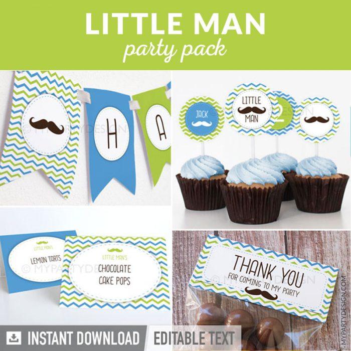 mustache little man party decoration printables
