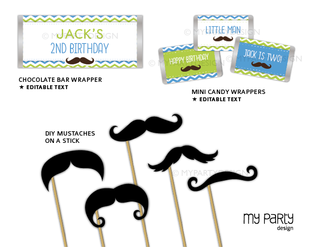printable mustache little man birthday party decorations