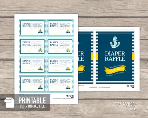 printable nautical baby shower diaper raffle