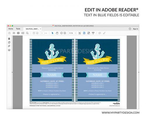 nautical baby shower party invitation - editable printable invite