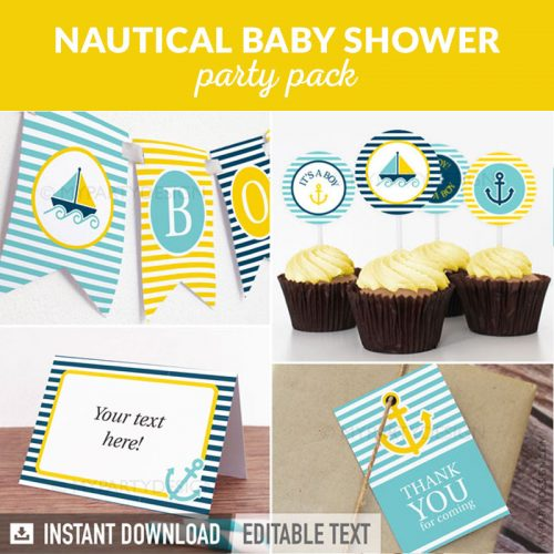 nautical baby shower party decoration printables in yellow and blue