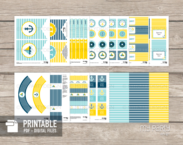 printable nautical baby shower party decorations