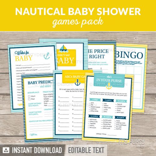 Nautical Baby Shower Games Printables