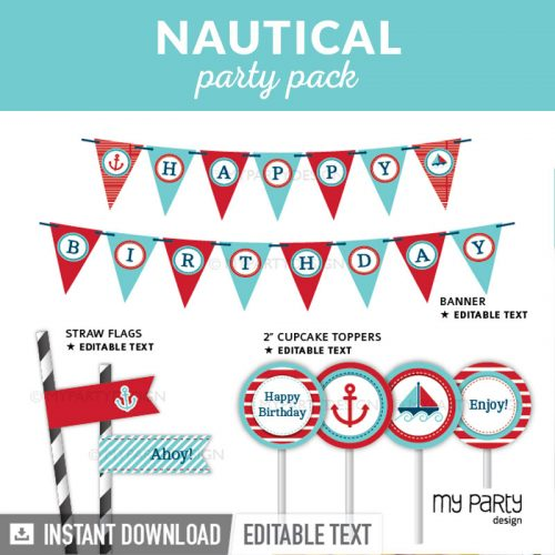 nautical party decoration printables