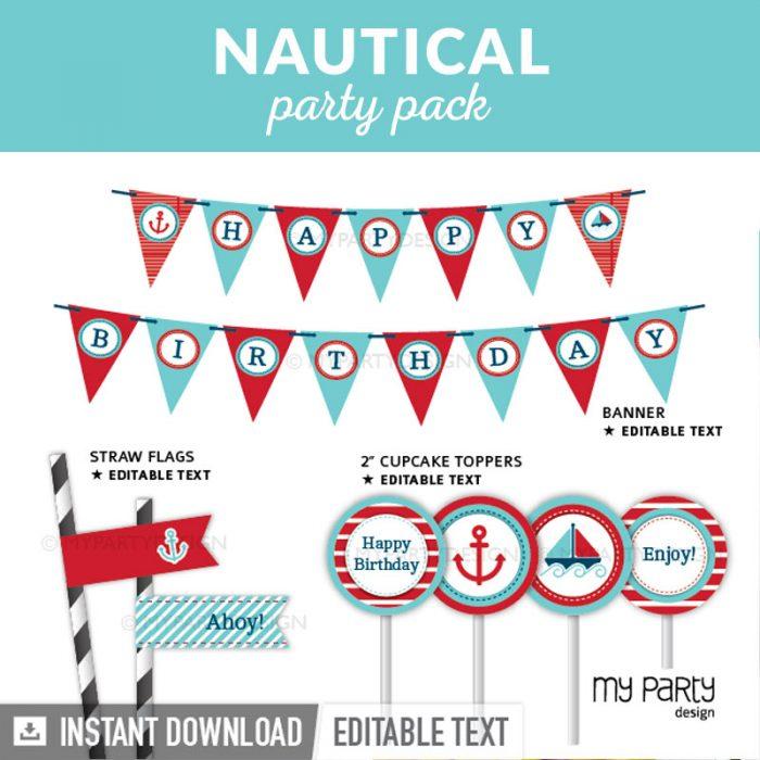 nautical party decoration printables
