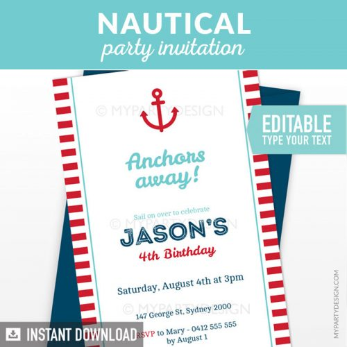 red nautical birthday invitation printable
