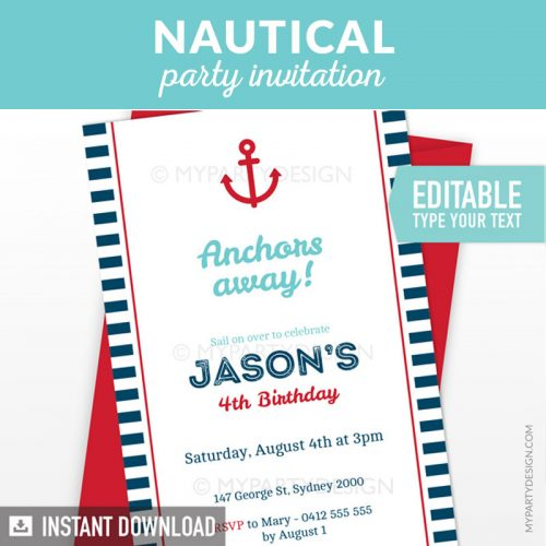 navy nautical birthday invitation printable in blue and red