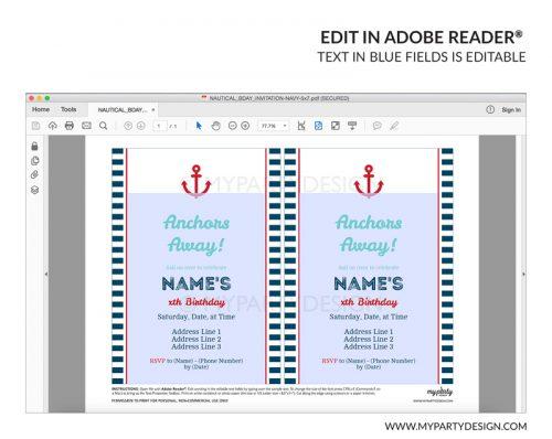 nautical party invitation - editable printable invite