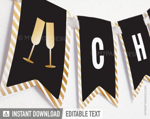 black and gold printable banner