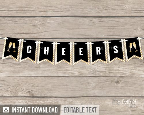 black and gold printable banner cheers