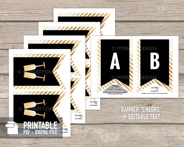 black and gold printable banner for new year party
