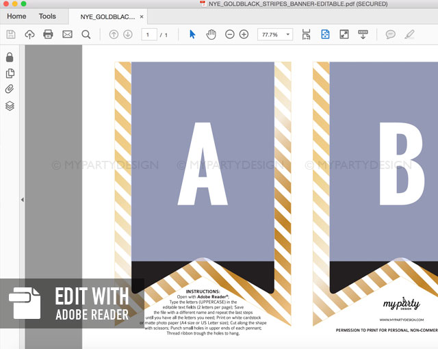 black and gold printable banner with editable text