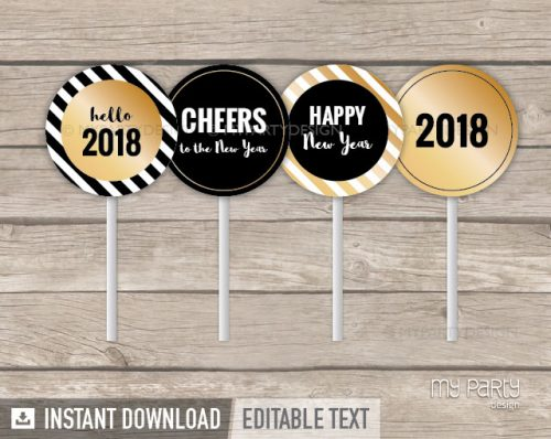 black and gold printable cupcake toppers for new year party