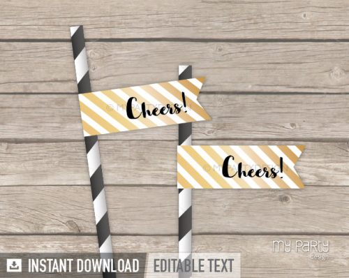 black and gold printable straw flags cheers