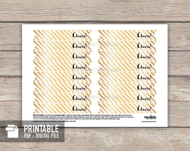 black and gold printable straw flags